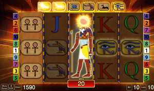 The Eye of Horus bonus comes in the form of 12 free games when three or more Pyramid Scatter symbols appear anywhere on the screen. As an extra bonus, one, two or three Horus symbols awards further free games.